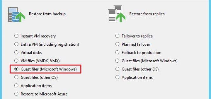Veeam: Restauration d'un fichier Windows avec Veeam