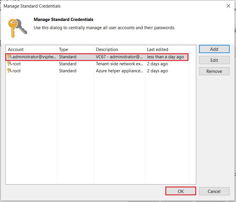 Veeam 10: Ajouter un vCenter à l'inventaire