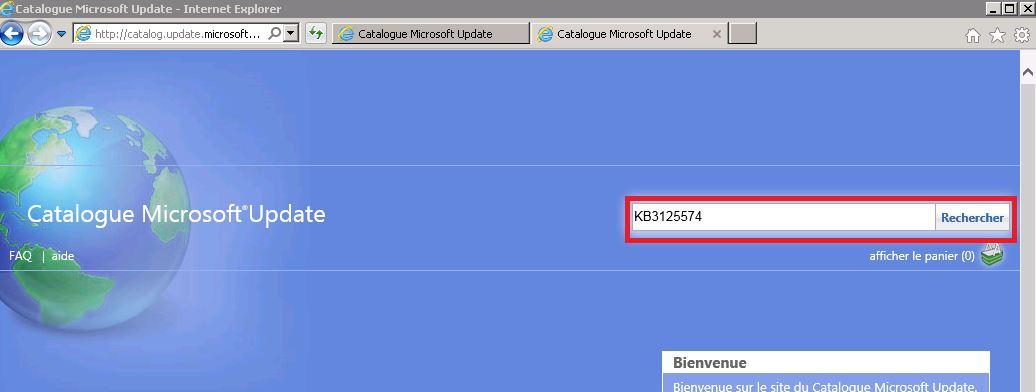 WSUS : ajouter des mises à jours depuis le Catalogue Microsoft Update