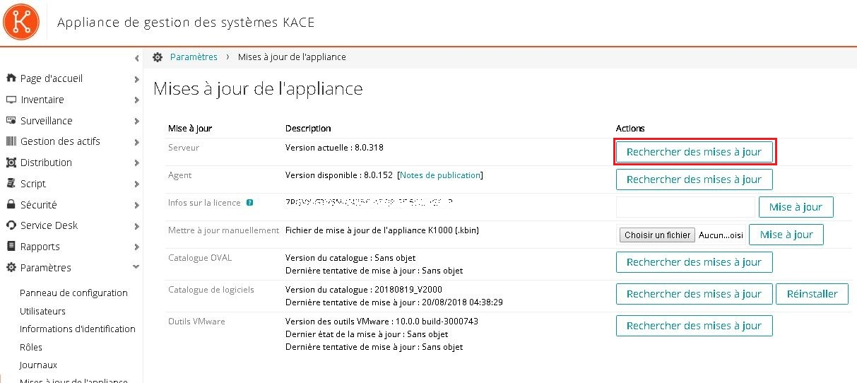 Kace SMA : Upgrade du SMA Systems Management Appliance