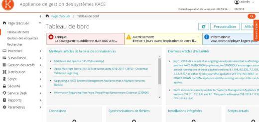 Kace : Déploiement du SMA Systems Management Appliance