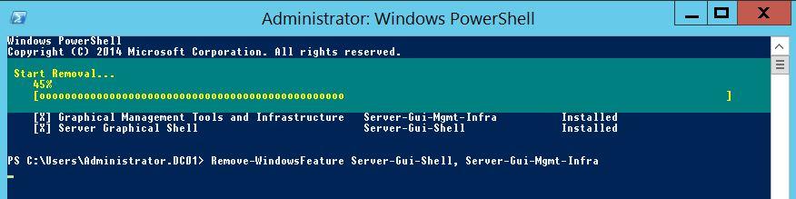 Windows Server 2012 Core : Installer/supprimer l'interface graphique