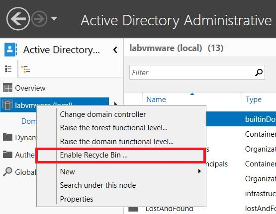 Windows Server : Activer et utiliser la corbeille Active Directory