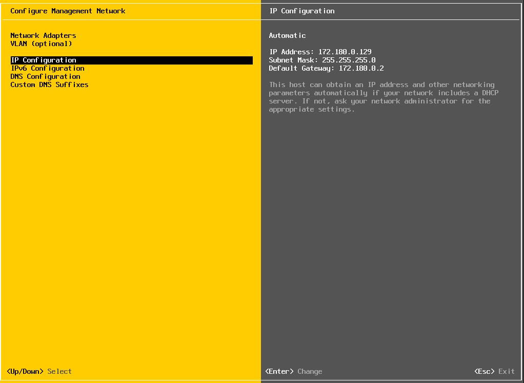 VMware : Configuration Réseau d'un ESXi