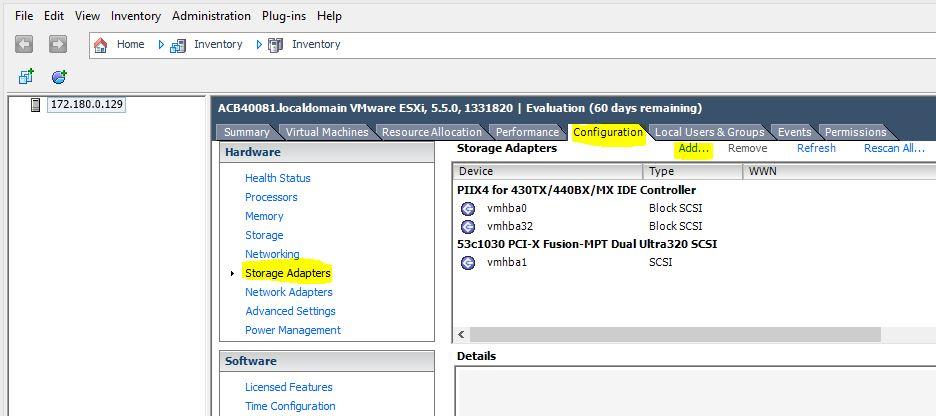 VMware : ajouter une LUN à un ESXi