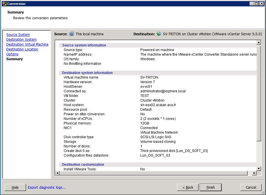 VMware : Conversion en machine virtuelle d'une machine physique (P2V)