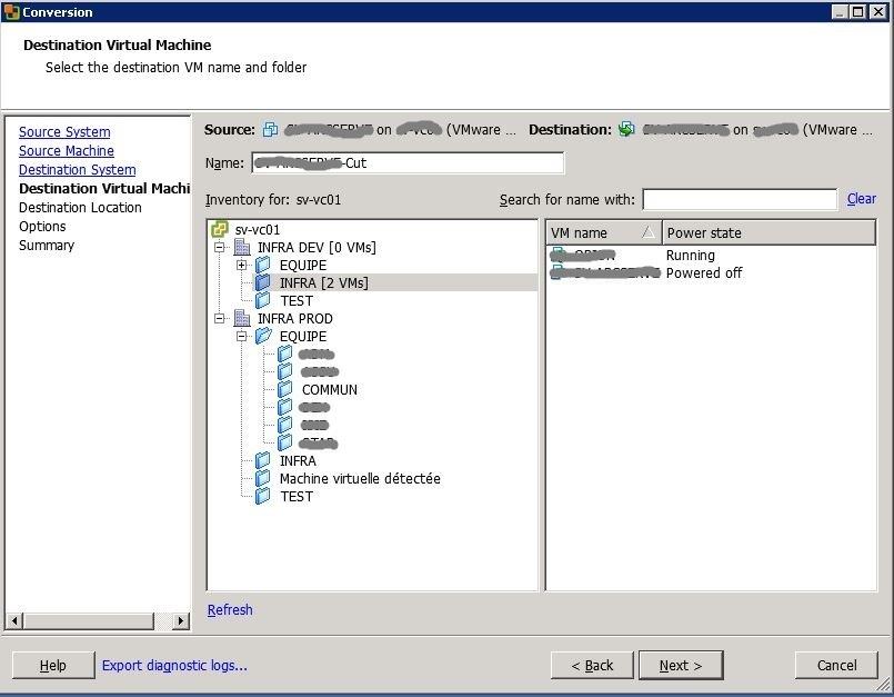 VMware : réduire la taille d'un disque .vmdk avec VMware Convertor