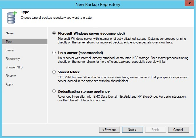 Veeam Backup et Replication 8.0 : Ajout d'un Backup Repository