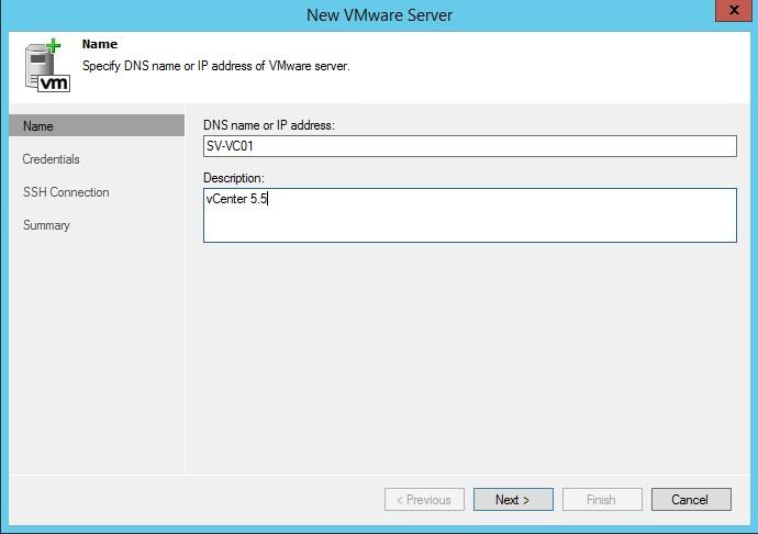 Veeam Backup et Replication 8.0 : ajout de la connexion au vCenter