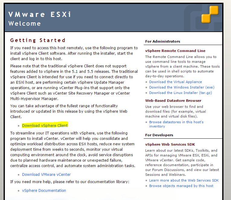 VMware : installation client vSphere Vi-Client